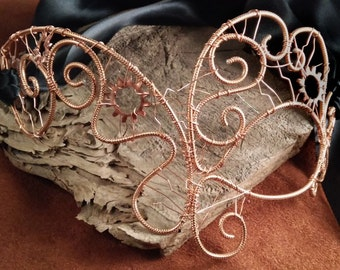 Asymmetric Copper Wire Steampunk Mask - Made to Order