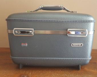 Vintage Tourister Train Case, Gray Train case, Tourister,Luggage, Makeup Case, Wedding, Crafts, Carry-on, Travel Case, Storage, Organization