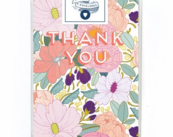 Thank You Card Box Set of 5 - Floral Thank You Card - Single Card - Full Floral Thank You Card Blank Inside