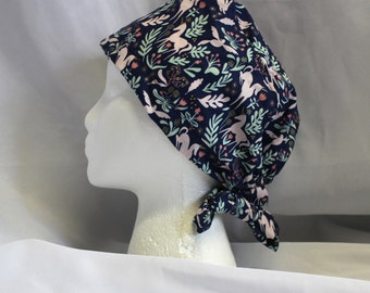 Navy and Pink Unicorns and Rabbits Surgical Scrub Cap Chemo Dental Hat