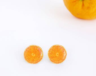 Orange studs / Fruit studs / Orange earrings / Fruit earrings / Citrus earrings / Orange gift idea / Fruit gift idea / Healthy food studs