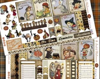 A Joyful Halloween Cute Planner Stickers Vintage Ephemera Style