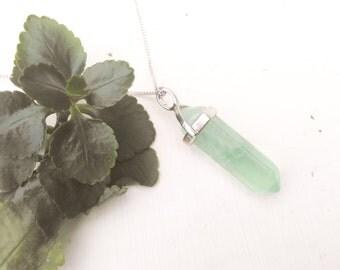 Sterling silver green fluorite pendant