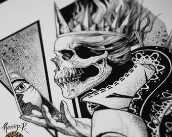 Art print,Wall art prints,Tattoo Print,dark print,dark art,gothic art,gothic print,skull art,skull print,horror art,horror print,skull