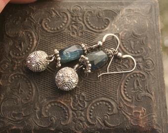 gemstone earrings, kyanite earrings, kyanite jewellery, unique earrings, assemblage jewelry, blue kyanite, green kyanite gemstones, ooak,