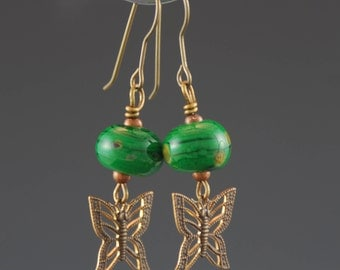 Artisan Earrings, Lampwork Glass Beads, Boho, Butterflies, Green, Antique Brass, Tammie Mabe, Drop Earrings, Jewelry, Gift for her, USA