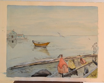 Vintage Watercolor, Harbor with Boat, Signed
