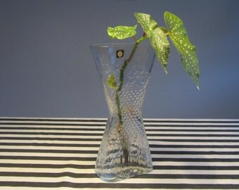 Wiesenthalhütte - Very Tall Clear Glass Vase with a Geometric Shape and Embossed Decoration - Made in Germany - 1970s