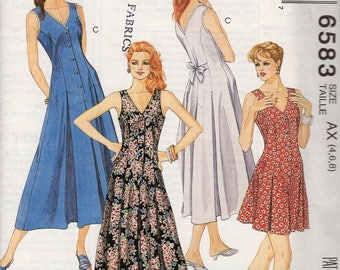 FREE US SHIP McCall's 6583 Palazzo Pants Jumpsuit Romper Dress Retro 1993 1990's Uncut Sewing Pattern  Size 4 6 8 Bust 29 30 31