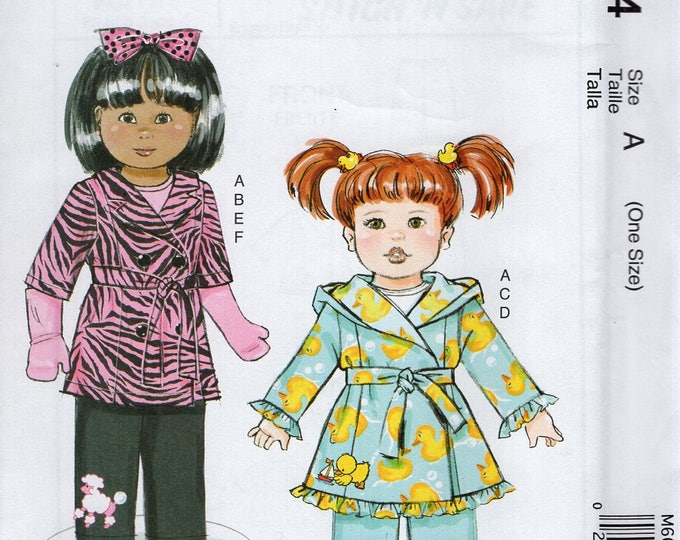 """Free Us Ship McCalls 6634 Out of Print 18"""" Doll Clothes Robe Pants Gloves New Sewing Pattern Uncut Fits American Girl Doll Out of Print"""