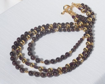 Garnet and gold 3-strand necklace