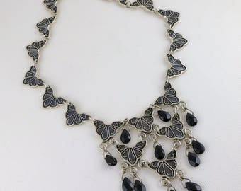 Sterling Silver Onyx Necklace, Vintage Mexican Sterling Silver Faceted Onyx Bib Necklace, Sterling Silver Statement Necklace