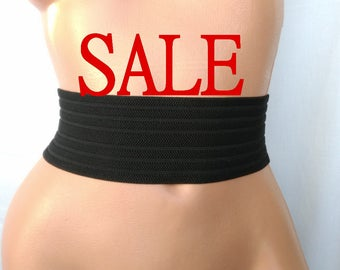 SALE Women's belt Elastic Black belt Stretch Waist cincher belt Very wide Black Silver simple belt elastic cinch