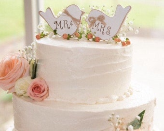 Wedding Cake Topper. Rustic Wedding Cake Topper. Cake Topper. Love Birds Cake Topper. Wooden Love Birds. Mr. & Mrs. Cake Topper.