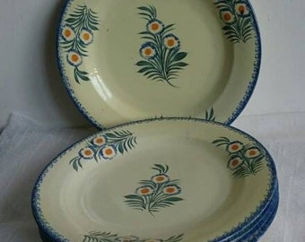 5 Vintage Breton Plates, Henriot Quimper Hand-Painted, Collectible Plates,
