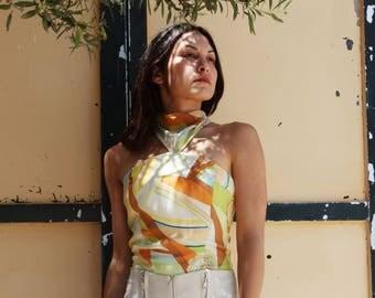 Vintage multi color geometric print silk halter top.size m