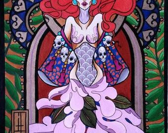 Mystic Girl and Flowers - Original