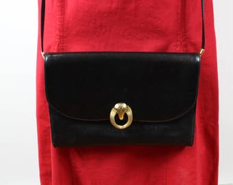 Vintage black & gold leather bag