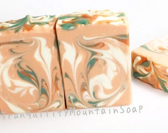 Artisan Soap Handmade Cold Process Soap Feminine Soap Shea Butter Soap Bath and Body Soap Unique Gift For Her Peach Floral DAHLIA