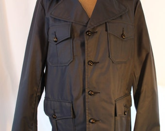 Vintage Men's Jacket - Men's Blue Trench Coat - Navy Blue Cotton Nylon Jacket  - Free Shipping Within Canada and USA - NOS