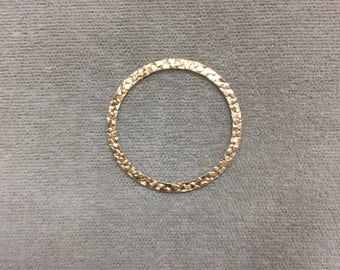 26mm Gold Filled Flat Textured Circle, 2 sided, 12/20 GF
