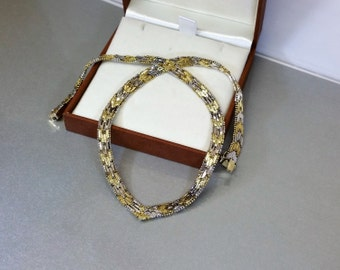 Necklace old 60s 925 Silver part gilt SK470