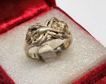 18.5 mm skull spider ring Silver 925 rar SR783