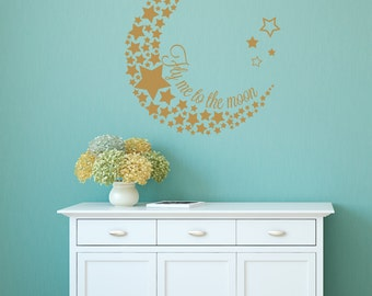 Fly me to the moon wall decal, Fly me to the moon decal,moon wall decal, moon and stars decal, moon and stars wall decal