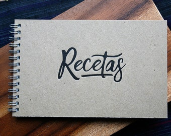 Kraft Letterpress Cover Wire Bound Spanish Recipe Book/Notebook  5x8in Libro de Recetas