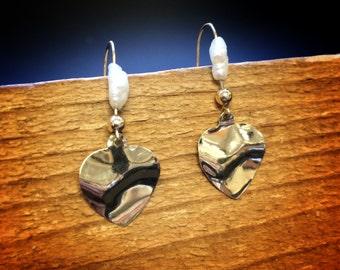 Gold Pearl Dangle Earrings 14K Yellow Gold Drop Abstract Heart Dangle Fish Hook Earrings