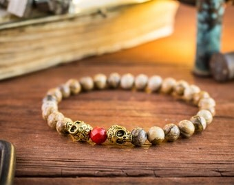 6mm - Jasper stone beaded & gold skulls with red coral stretchy bracelet, made to order yoga bracelet, womens bracelet, mens bracelet