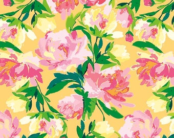 Yellow Main Passion - Paige's Passion by Lila Tueller - Riley Blake - Floral Fabric - Woven Quilting Cotton - Designer Fabric