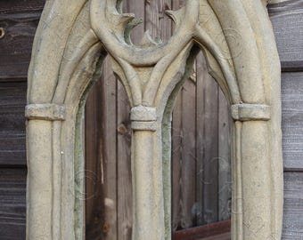 """Gothic Arch Mirror stone garden ornament double candle sconce antiqued finish 48cm/19"""" High (M)"""