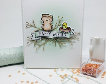 Handmade Card - Bird's Nest - Happy Wishes