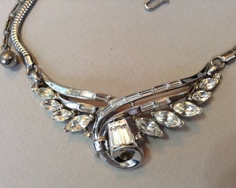 Trifari Alfred Philippe Silver Tone Rhinestone Pat. Pend. Choker/Necklace
