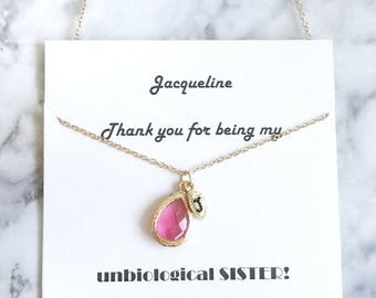 BFF necklace gift, Best Friend Necklace, Crystal Initial Necklace, Personalized Initial Crystal Necklace, Unbiological Sister Necklace, gift
