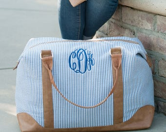 Navy Seersucker Monogram Weekender Bag - Monogrammed Weekender Bag - Navy Seersucker Overnight Bag - Seersucker Travel Bag - Monogram Bag