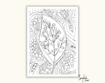 Adult Printable Colouring Page - Instant Download - Adult Coloring Page, Color in, Colour in, Zentangle, Art Therapy - Download only