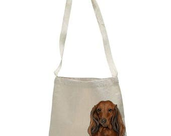 Red Longhaired Dachshund Dog, Color Portrait, Eco Friendly, Reusable, Cotton, Canvas Messenger Tote Bag, Made by Tote Tails
