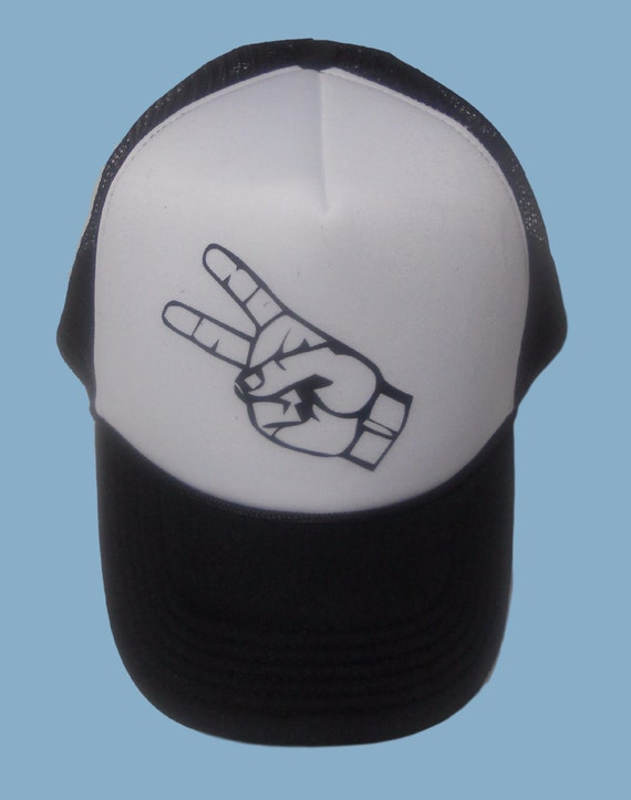 Peace hand sign black and white truckers back by