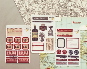 Vintage Airmail Style Mini Sticker Kit