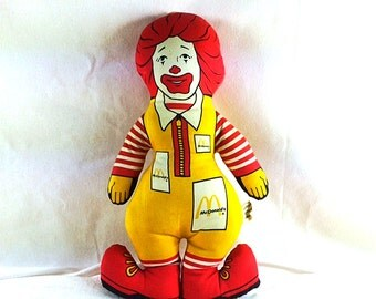 Vintage Ronald McDonald Stuffed Doll - Original McDonalds Doll - 12 Inches