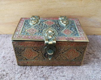 """Vintage Indian Style Brass Chest By """"Kinco"""" 1932. Ornate, Indian Style Traditional Brass Chest Trinket Box By """"Kinco"""" Ware - Made In england"""