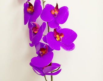 Purple real touch orchids, real touch flowers, royal purple phalaenopsis orchid, bulk silk flowers, silk orchids, true touch flowers