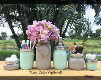 mason jar bathroom set wedding gift bathroom accessories farmhouse decor shabby - Bathroom Accessories Etsy