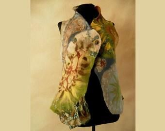 Nuno felt vest,  Merino wool vest, Wearable fiber art, Boho vest
