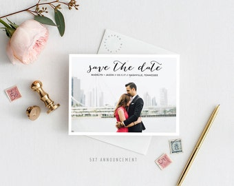 Printable Save the Date Announcement | Simple, Chic, Elegant, One Photo, Postcard, Engaged
