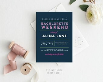 Printable Bachelorette Weekend Invitation | Neon, Fun, Girls Weekend, Bride