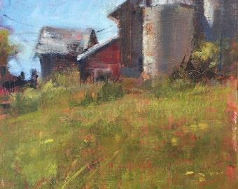 ORIGINAL ACRYLIC LANDSCAPE Farm Painting