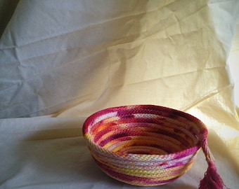 Small Sherbet hand dyed rope basket